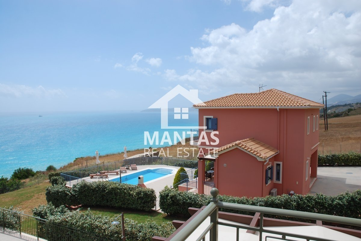 Three luxury pool villas for sale over Lefka beach in Platies with breathtaking views to the Ionian sea - 1.500.000€(code Μ-1305)